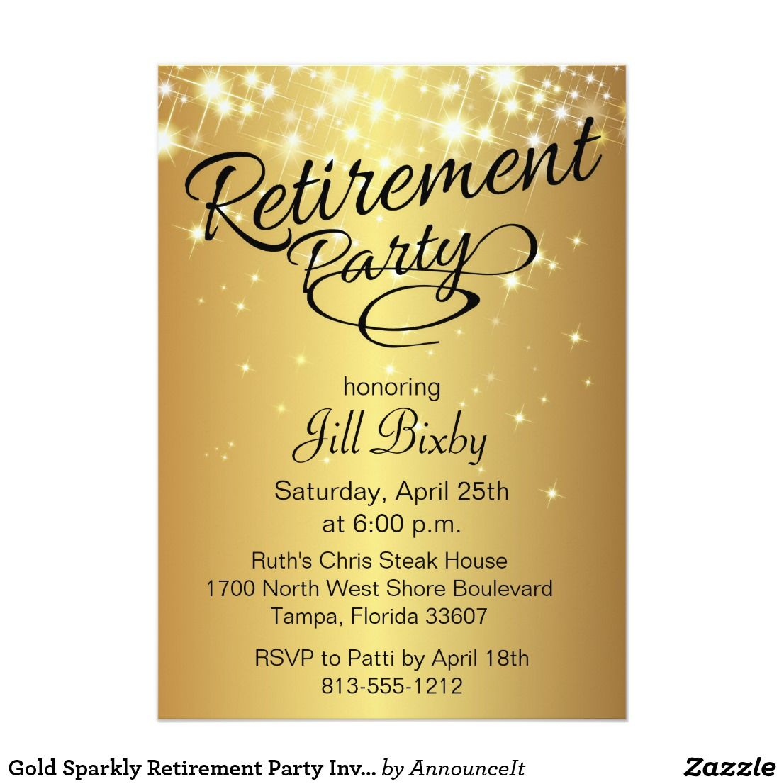 Gold Sparkly Retirement Party Invitation | Retirement parties and ...