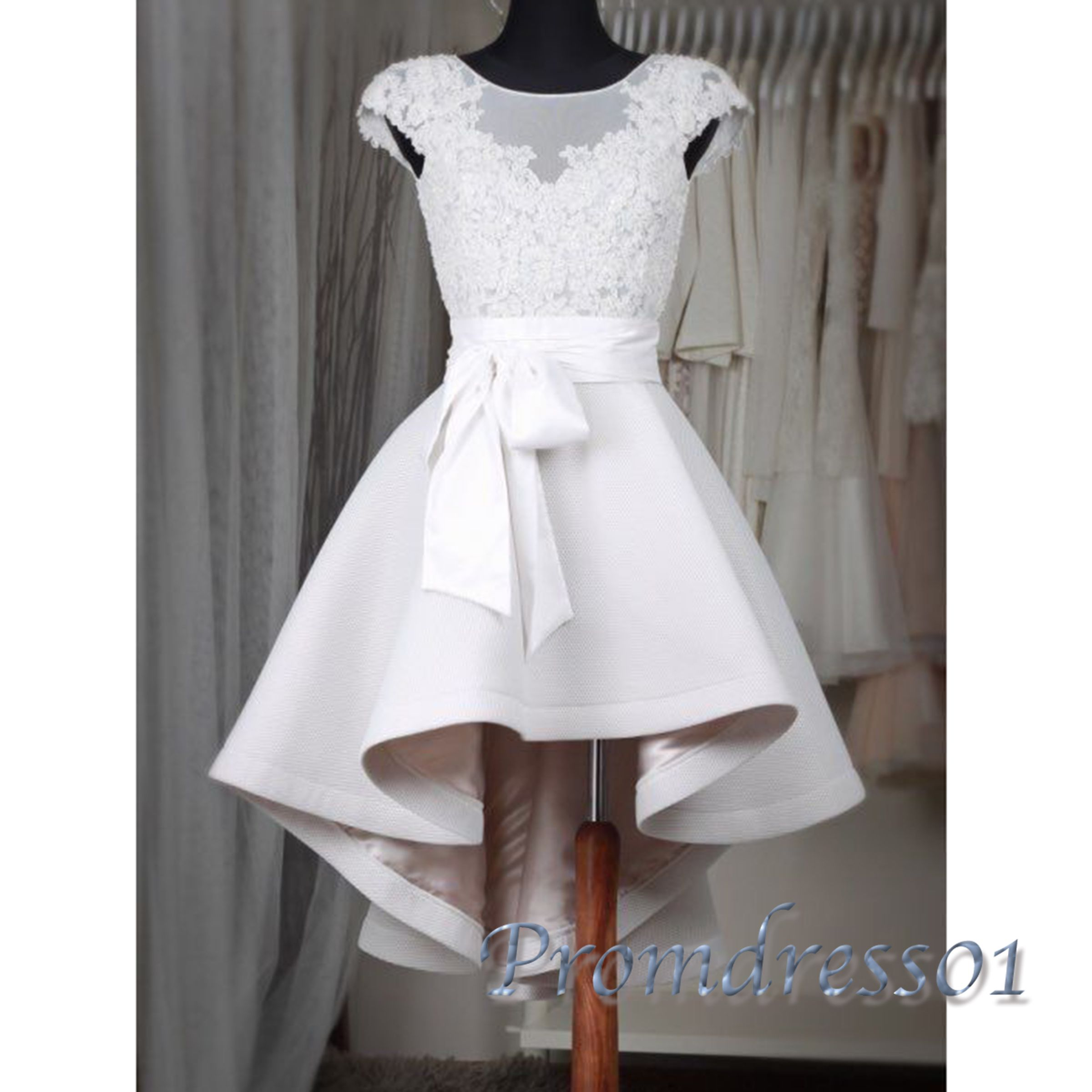 Cute lace appliqued ivory satin short prom dress with bowknot cap