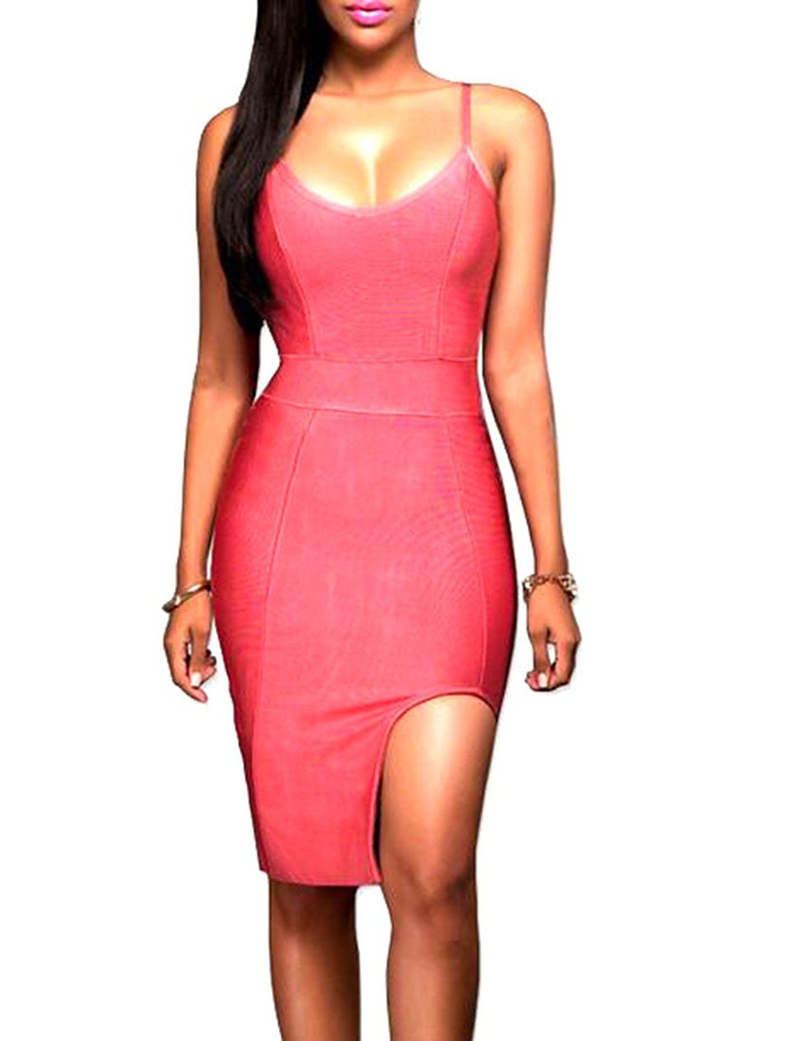 ARRIVE GUIDE Women's Scoopneck Solid Irregular Straps Bodycon Club Dress