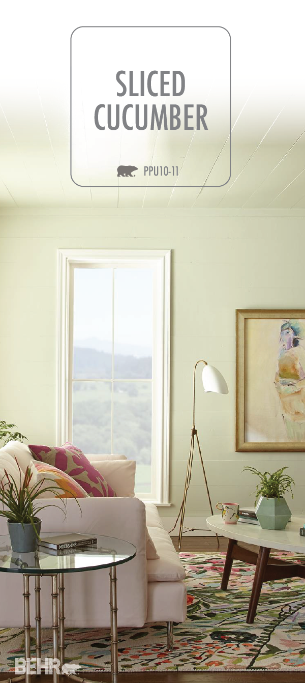 The neutral color palette of this living room gets a pop of pastel thanks to the light green hue of behr premium plus ultra interior hi gloss enamel in