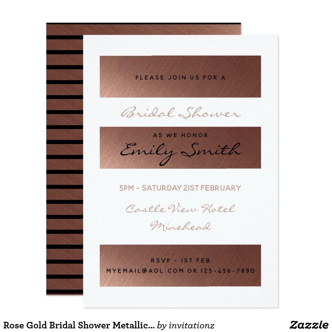 Wedding decorations to make february 2019 Rose Gold Bridal Shower Metallic Modern Chic Card  Trending Wedding