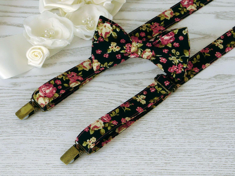 SUSPENDER and BOWTIE SET Floral Green Olive Floral Black