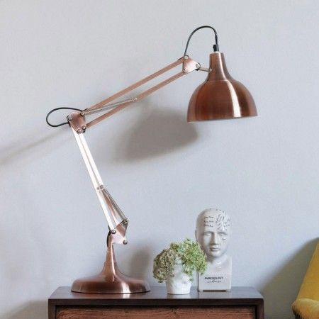75cms tall £75 copper angled table lamp lighting graham and green