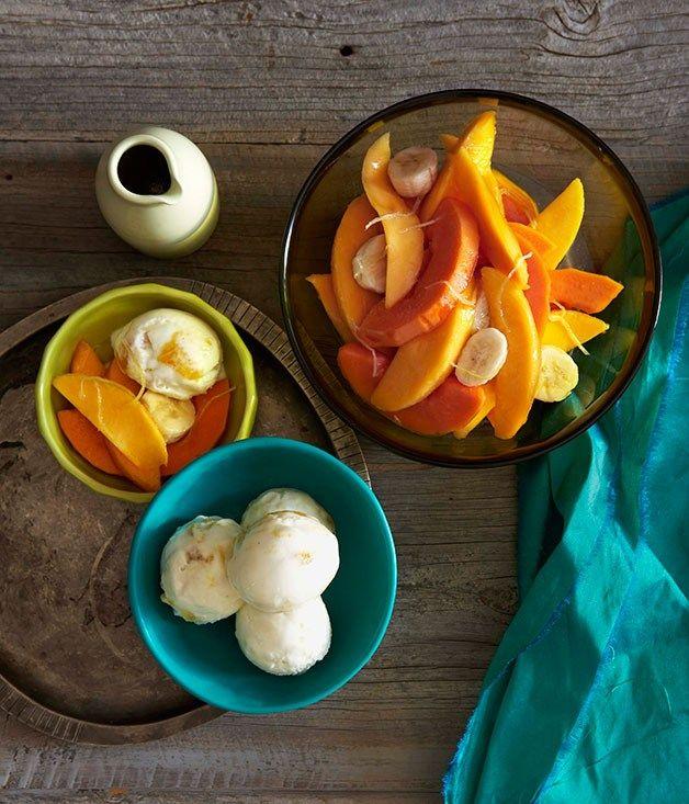 Mango yoghurt sorbet with tropical fruit |