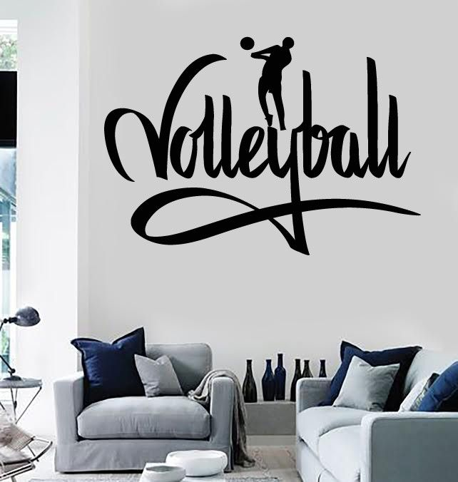 Wall stickers vinyl decal sports player volleyball i love for Stickers chambre love