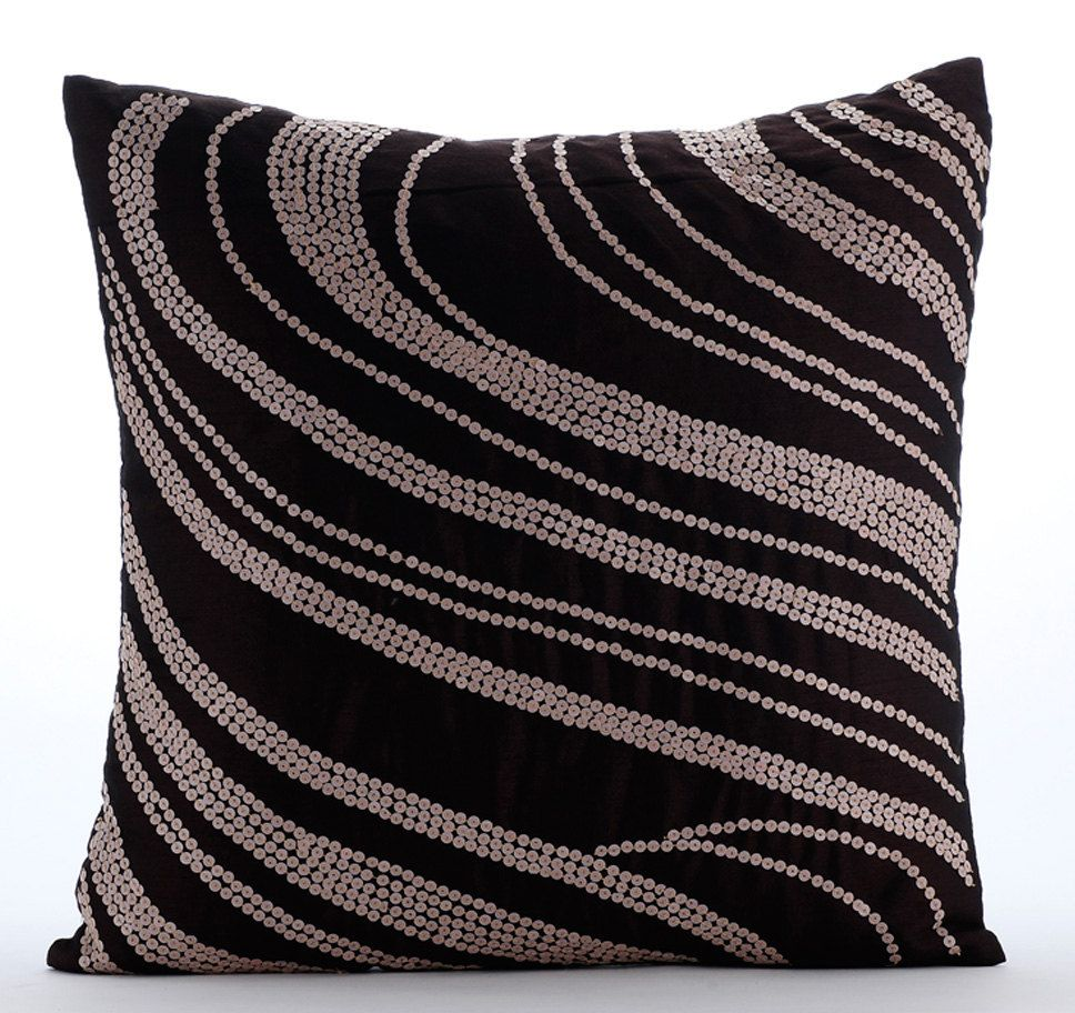 Art Silk Dark Brown Throw Pillow Cover 16x16 Etsy Brown Throw Pillows Silk Throw Pillows Throw Pillows