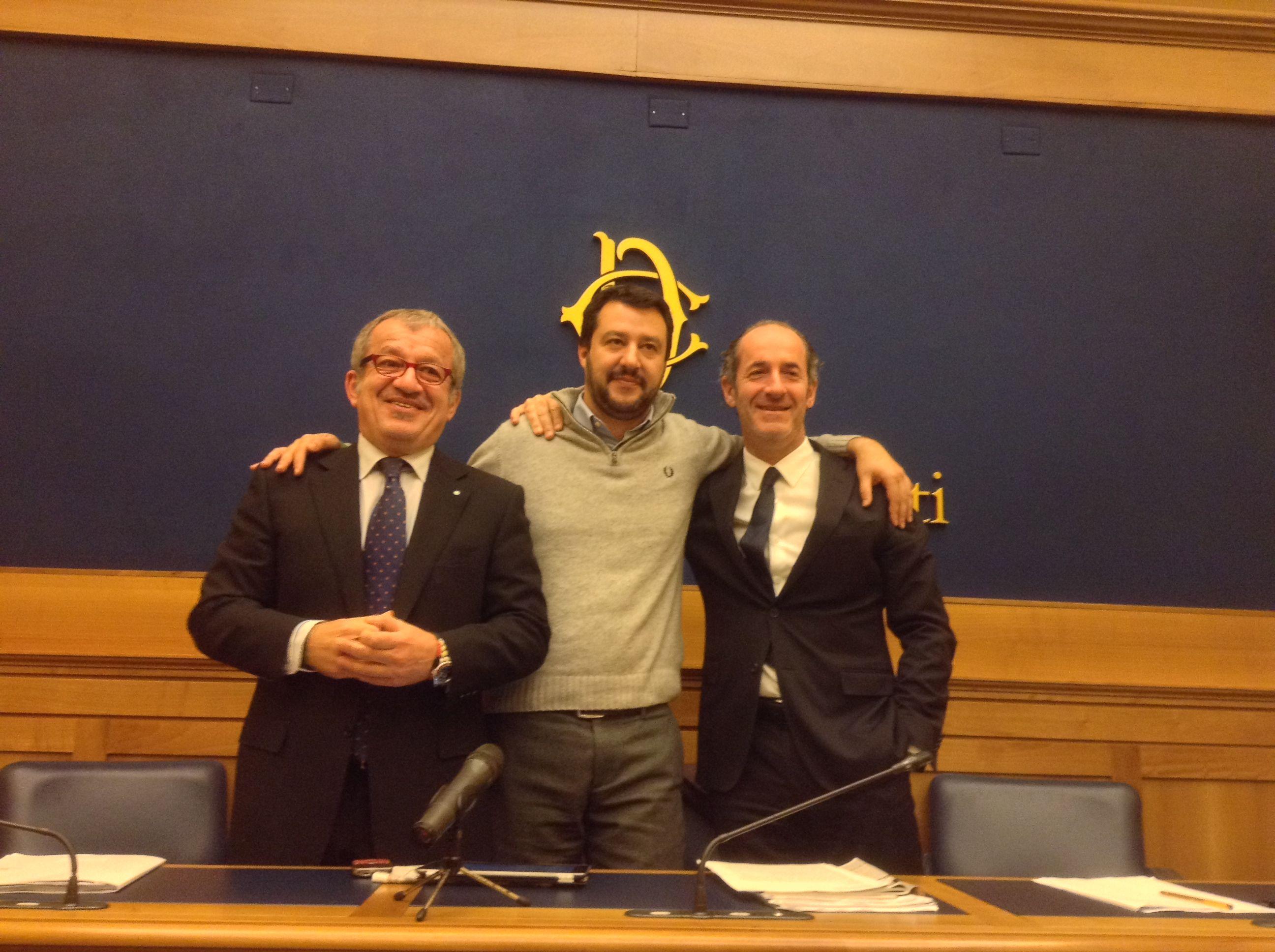 Zaia con Salvini e Maroni