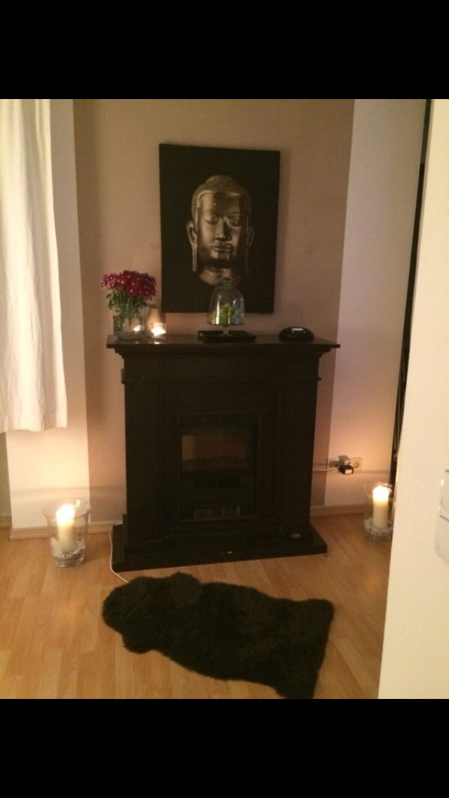 Furniture - home Sweet Home- habby chic - painted Wall - Cappuccino - budda - harmony - candles - purple flowers - chimney