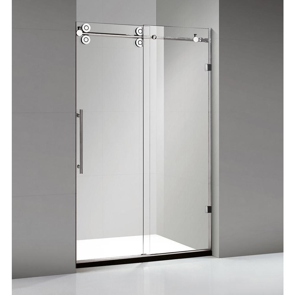 Dreamwerks 60 in. x 79 in. Frameless Sliding Shower Door in Stainless Steel #framelessslidingshowerdoors