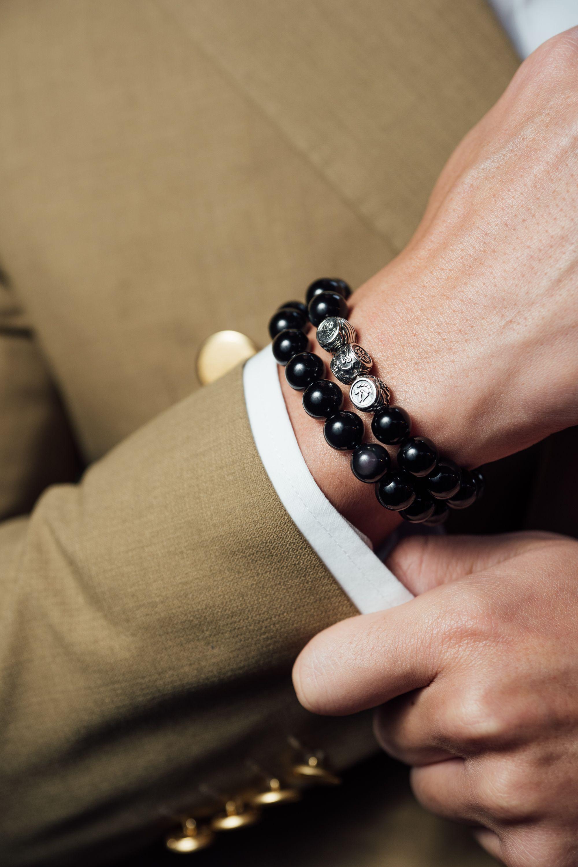 d4442bea8c321 Silver Dragorse Obsidian | Men's Beaded Bracelets | Gemstone ...
