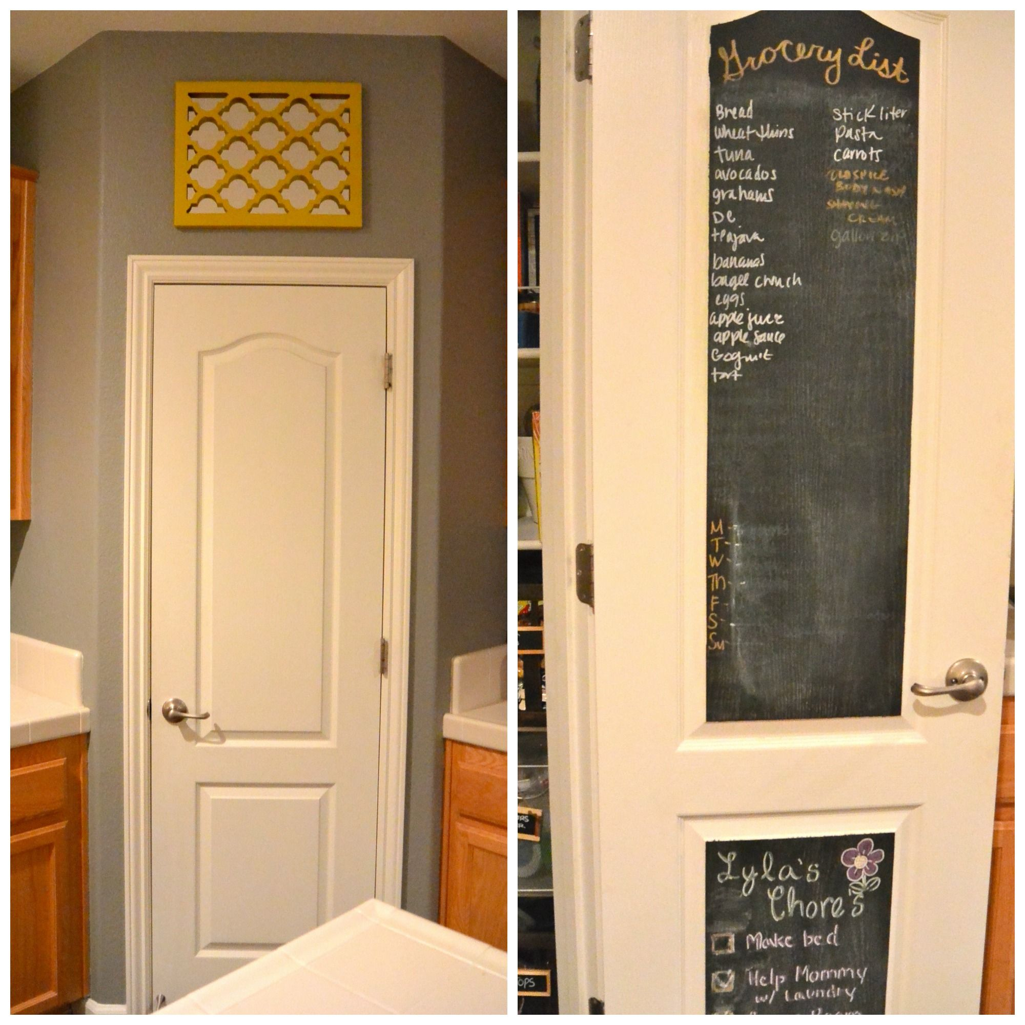 Easy to do! Use chalkboard paint on the inside of your pantry door ...