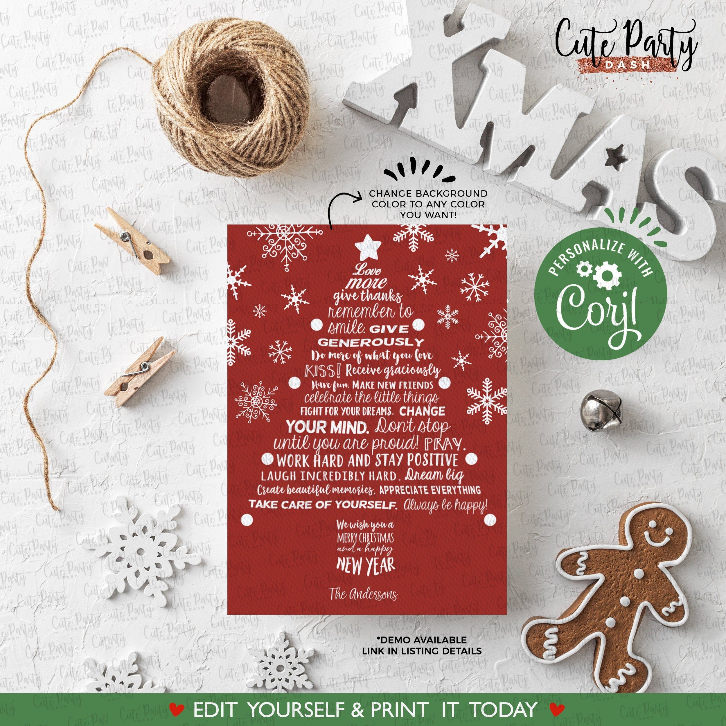 Instant Download Editable Printable Christmas Cards Template Message Motivational Happ Christmas Printables Christmas Card Template Printable Christmas Cards
