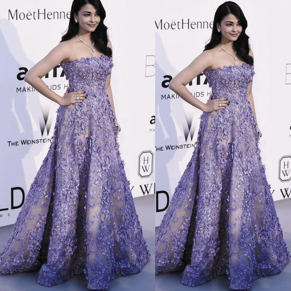 Floral Prom Dresses 2020 Strapless Lace Applique Elegant Purple Floor Length Prom Gown 2021 Floral Prom Dresses Dresses Purple Prom Dress [ 1000 x 1000 Pixel ]