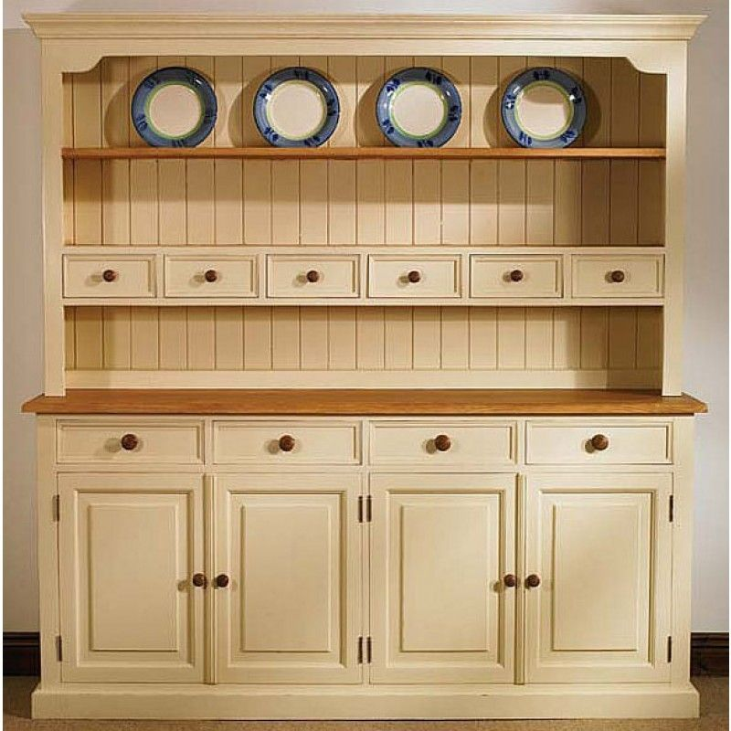 Mottisfont Solid Pine Painted Large 4 Door Welsh Dresser In Sizes