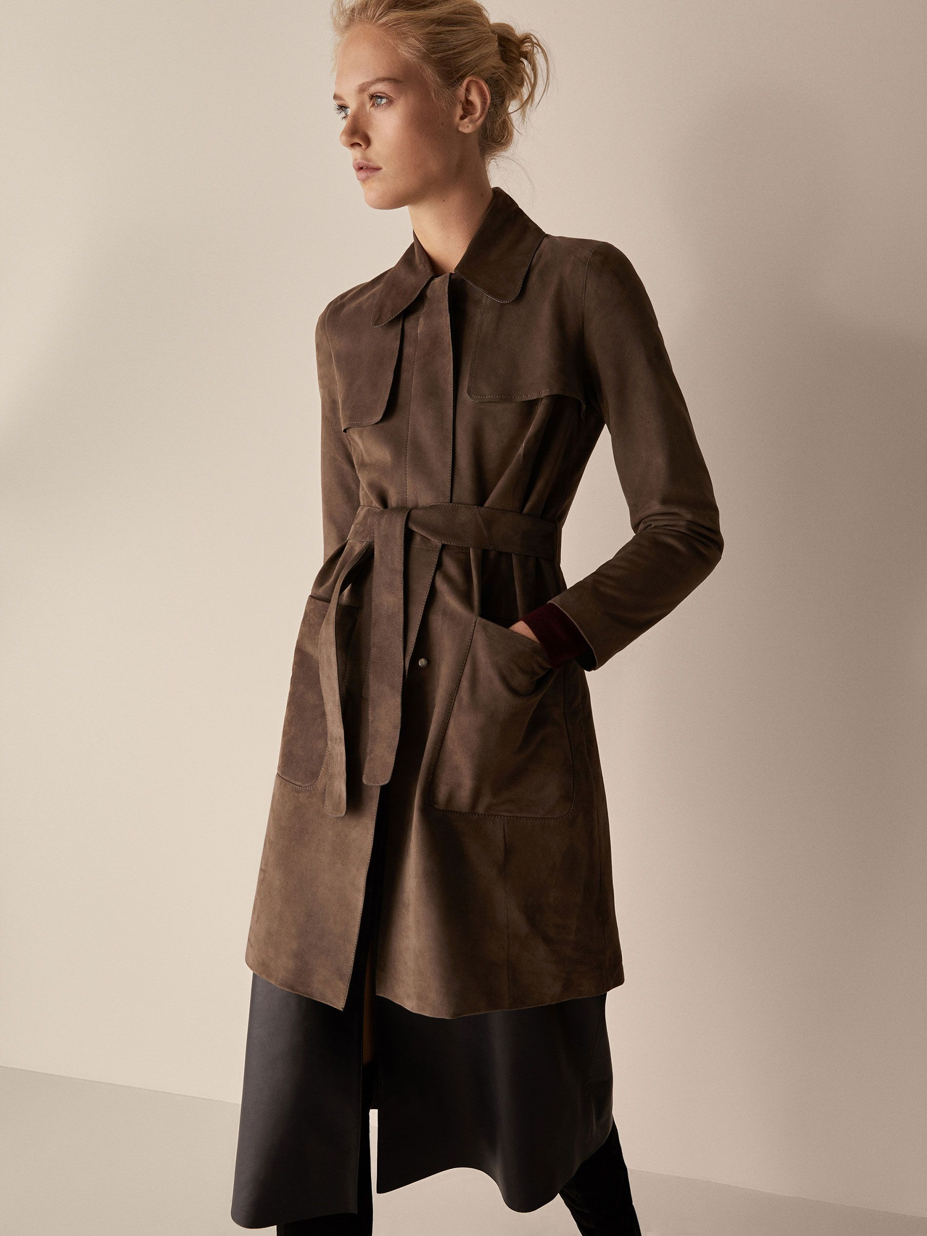 Fall Winter 2017 Women S Suede Trench Coat With Belt Detail At Massimo Dutti For 299 Effortless Elegance Suede Trench Coat Leather Outfits Women Trench Coat