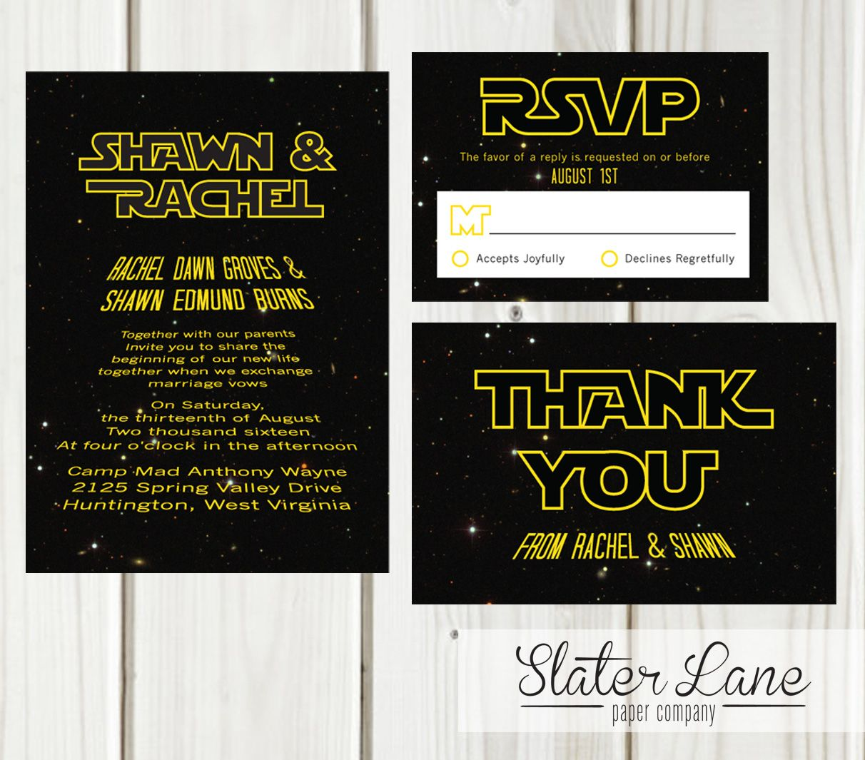 Simple straightforward theme invitation set for a Star Wars