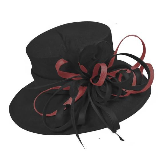 Caprilite Black and Burgundy Large Queen Hat Brim Occasion Hatinator Fascinator Weddings Formal