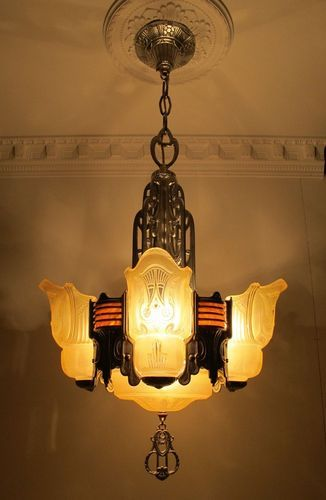 1920s Machine Age Art Deco Chandelier Ceiling Fixture Slip Shade Bakelite Amazing Art Deco Lighting Art Deco Chandelier Art Deco Lamps