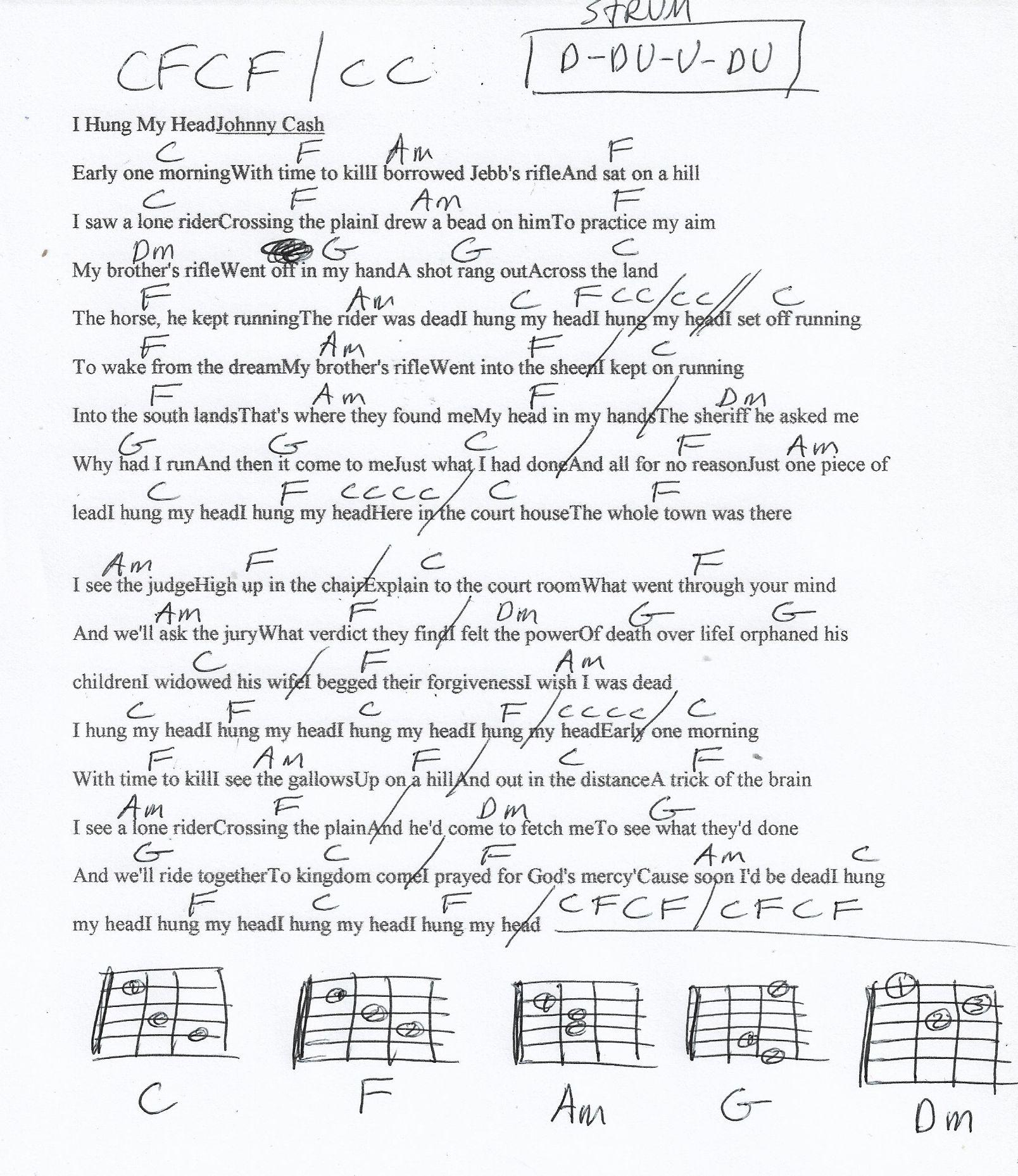 I Hung My Head Johnny Cash Guitar Chord Chart Guitar Chord Chart Guitar Chords Me Me Me Song