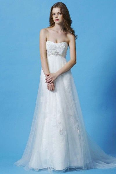 Summer Beach Wedding Dresses with Strapless,A-line,Tulle Fabric ...