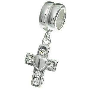 925 Sterling Silver Crystal Cross w// Heart Dangling Charm Bead