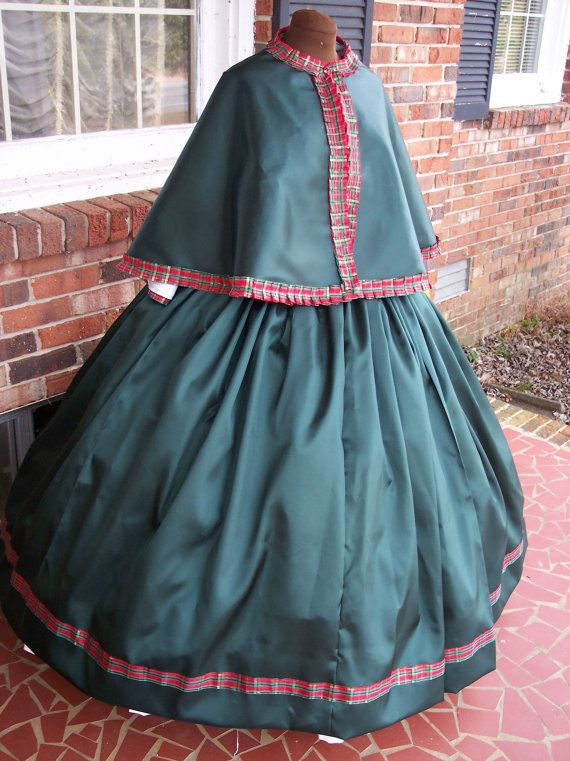 Rich Green Civil War Cape Set/Dickens by civilwardresses1865, $99.00