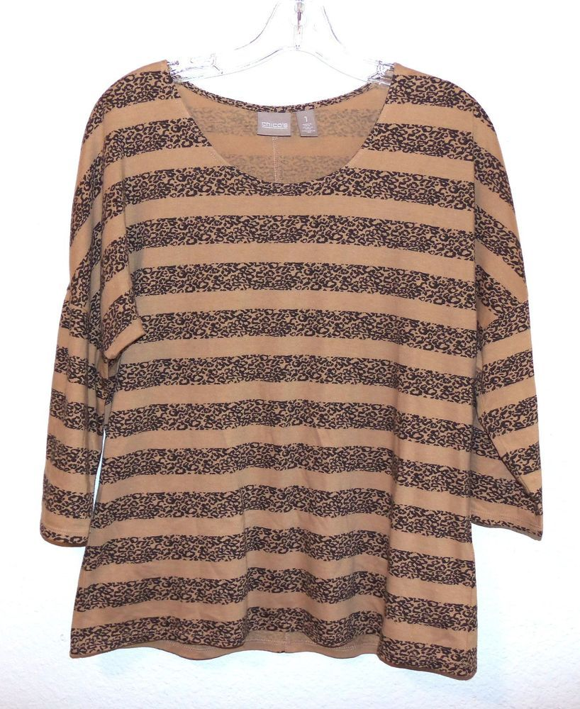 CHICO'S Top sz 1 M Animal Print Striped 3/4 Sleeves cotton blend tan black #Chicos #KnitTop #Career