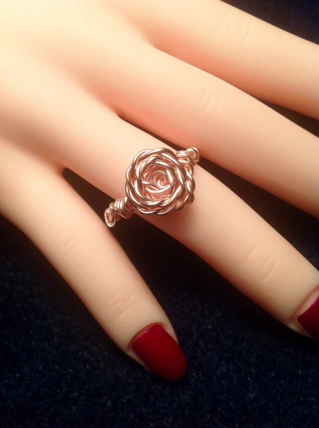 Wire Wrapped Rose Wire Wrapped Flower Ring Rose Gold Ring Rose