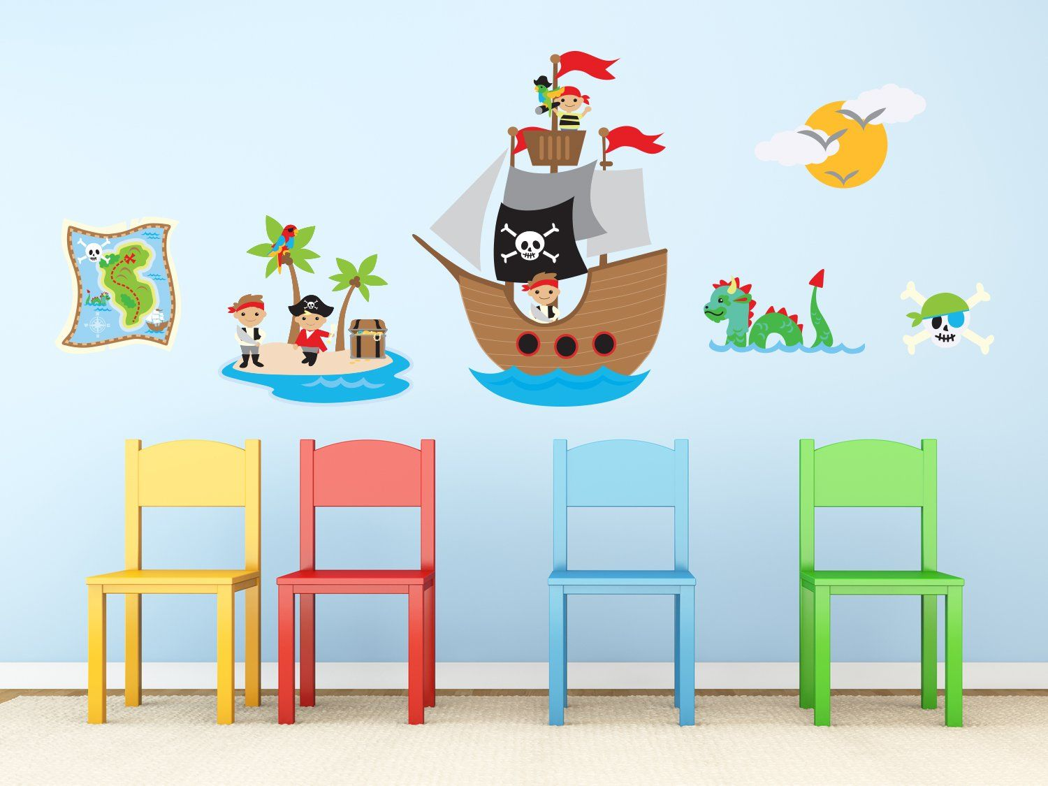 Pirates Fabric Wall Decal With Captain Jack Ship