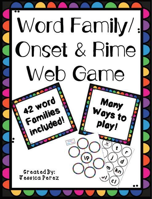Word Family/ Onset  Rime Game for small group and literacy centers