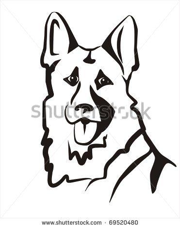 German Shepard Vector Illustration Portrait Sketch In Black Lines