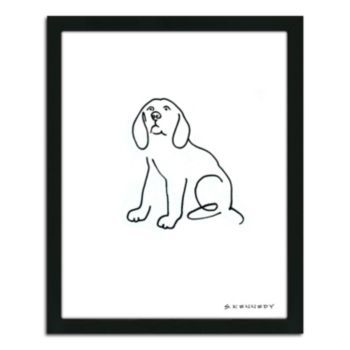Beagle Line Drawing Framed Wall Art Dog Line Drawing Dog Line Drawing Artwork
