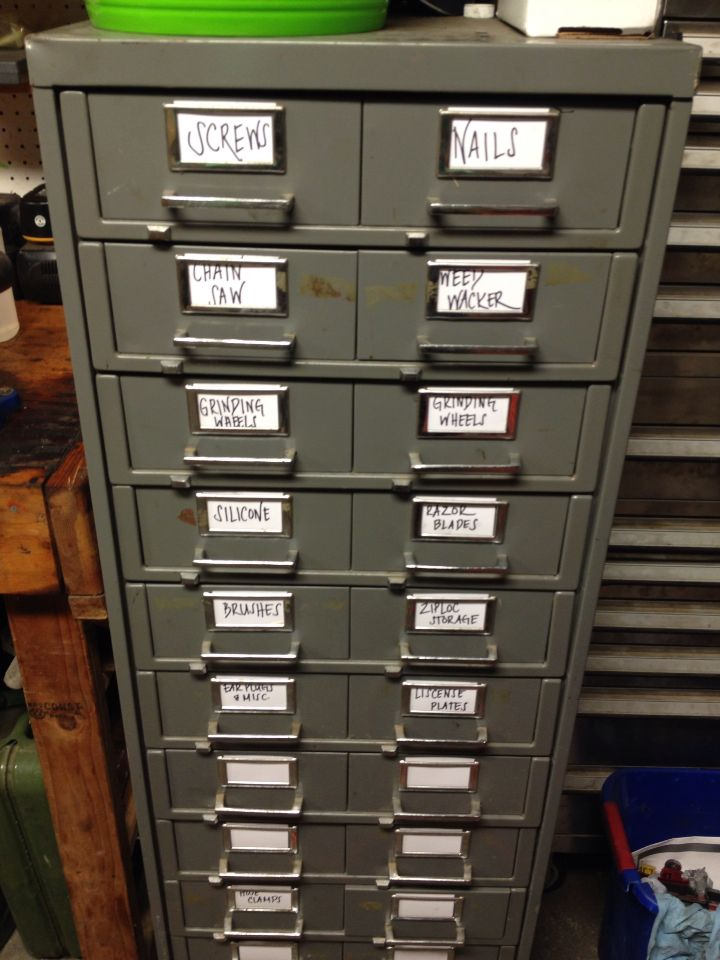 Use old business cards to label a file cabinet and use an old file ...