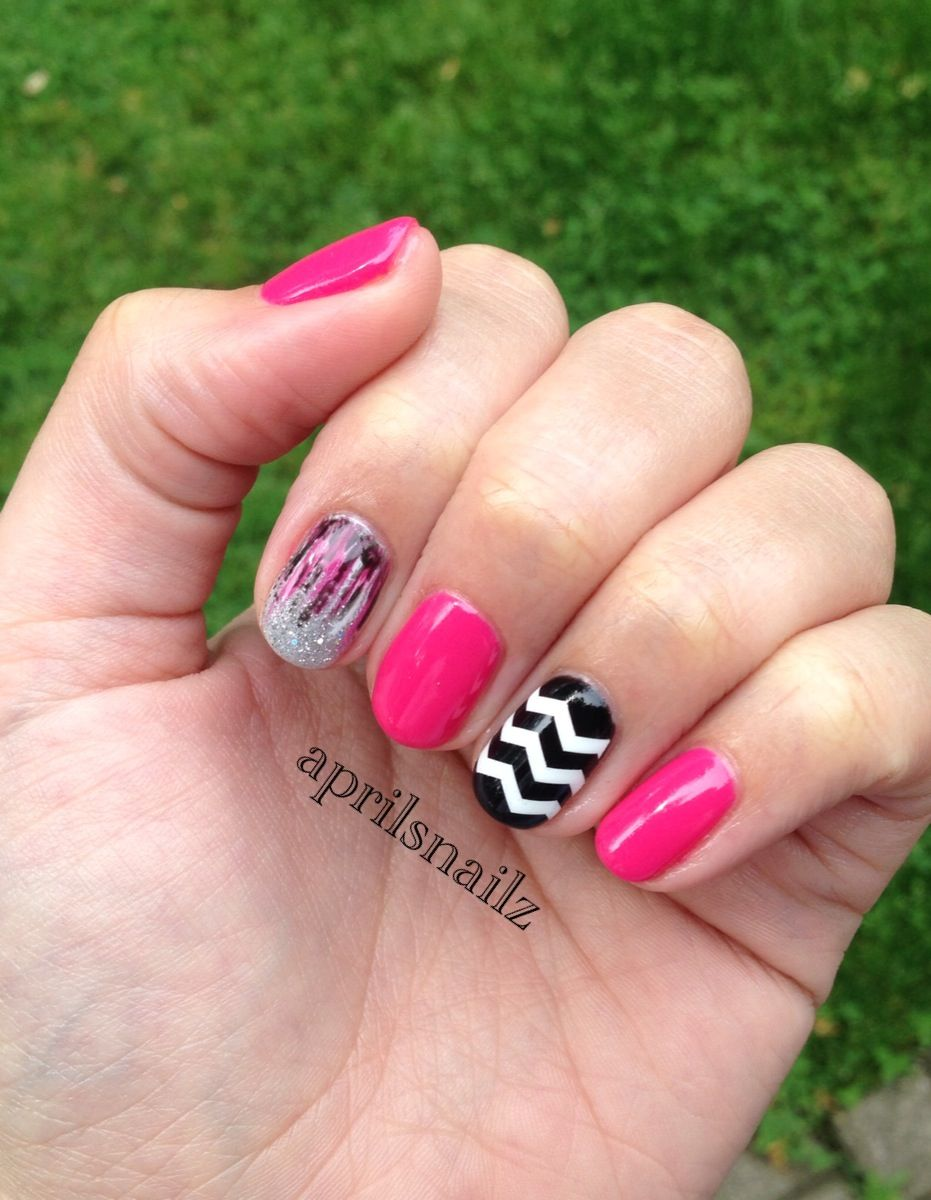 Christy Cs Nails Cnd Pink Bikini Chevron Glitter Polish