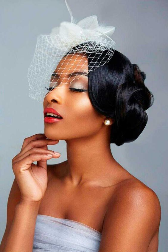 Wedding Hairstyles For Black Women Smooth Low With Veil Coiffure