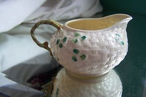 Vintage Signed Belleek Irish Porcelain Shamrock Weave Cream Pitcher