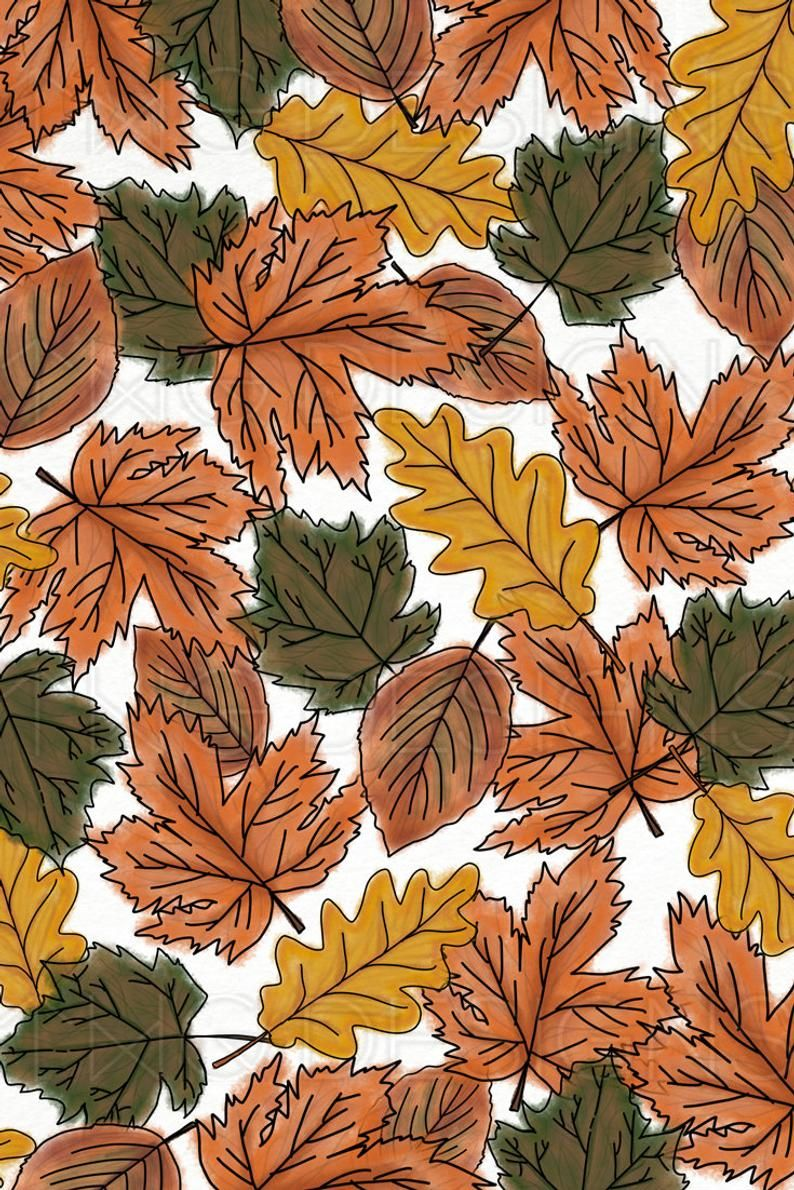 Fall Autumn Leaves Orange Brown Watercolor Digital Scrapbook Paper Pattern Stationary Fox Pumpkin Ar