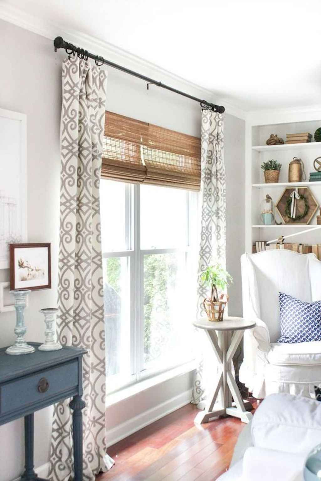 85 Beautiful Farmhouse Living Room Curtains Decor Ideas ... on Farmhouse Curtain Ideas For Living Room  id=17305