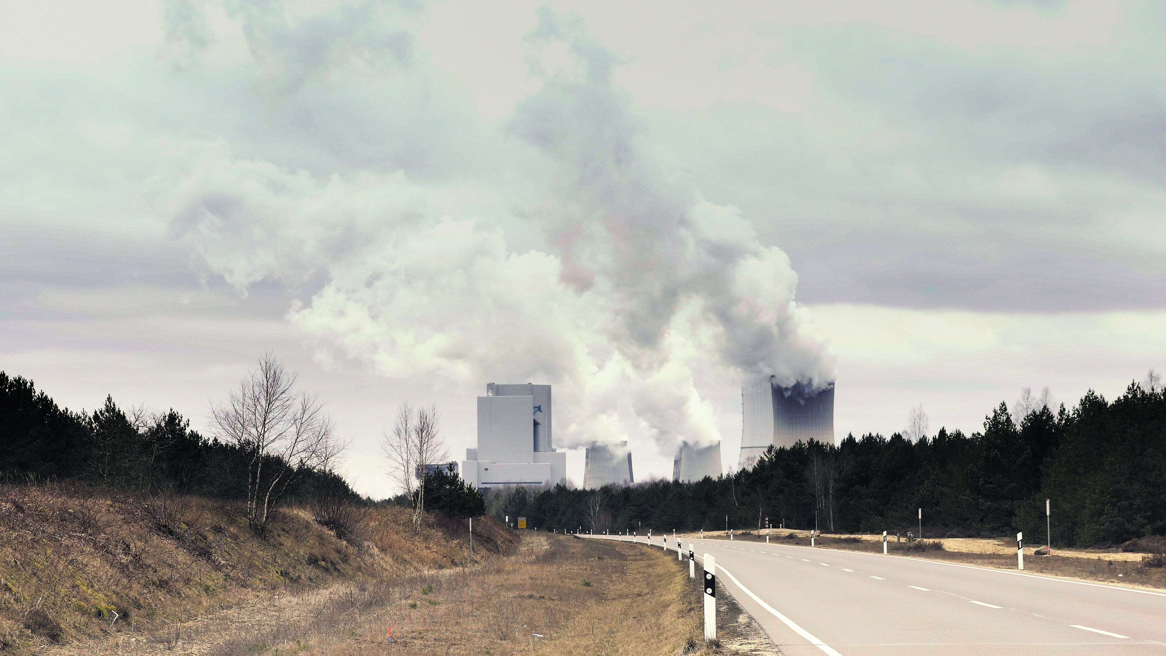 Cooling System Of Nuclear Power Plant Huge Clouds And Smoke In