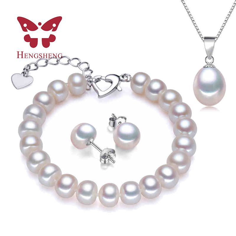 HENGSHENG Echte Parel Armband Hanger Oorbellen Drie Sieraden Sets voor Vrouwen Parel Ketting/Earring/Armband Bruiloft Sieraden Set