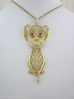 Dog Pendant Necklace w Moving Tail Eyes Ears Vintage Lg Costume Jewelry w Chain