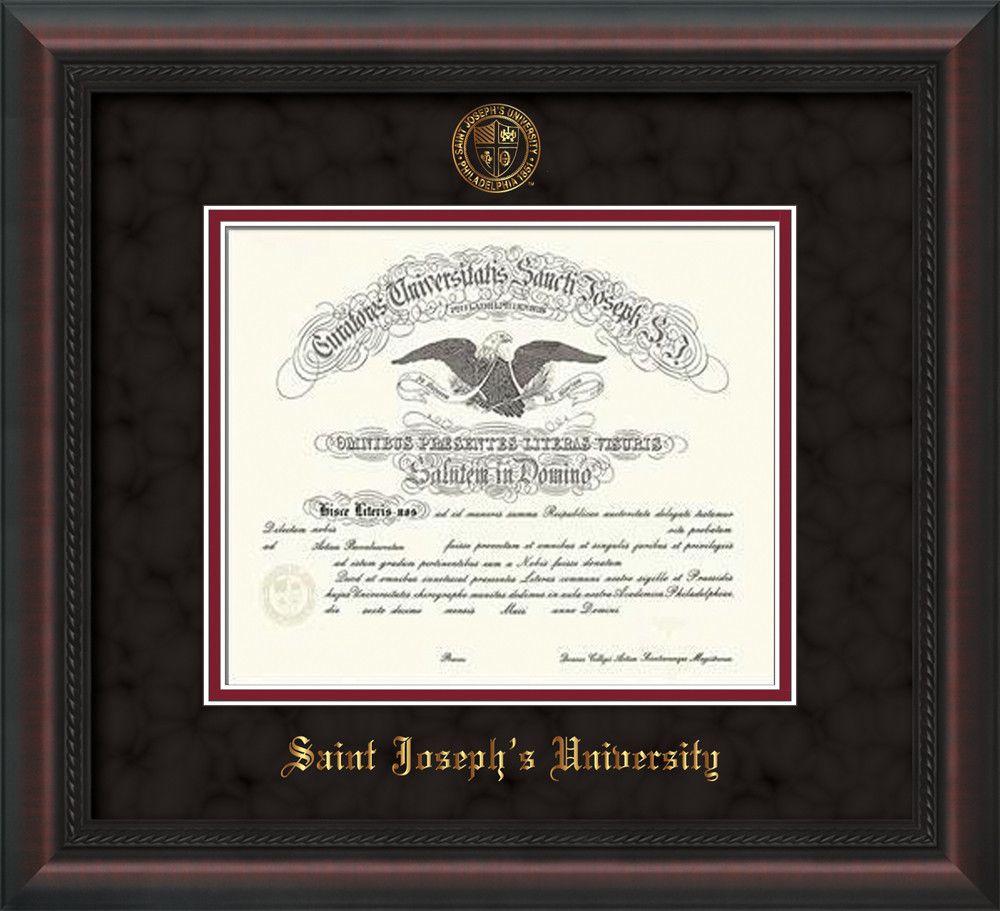 St. Josephs U Diploma Frame-Mahog Braid-w/SJU Seal-Black Suede ...