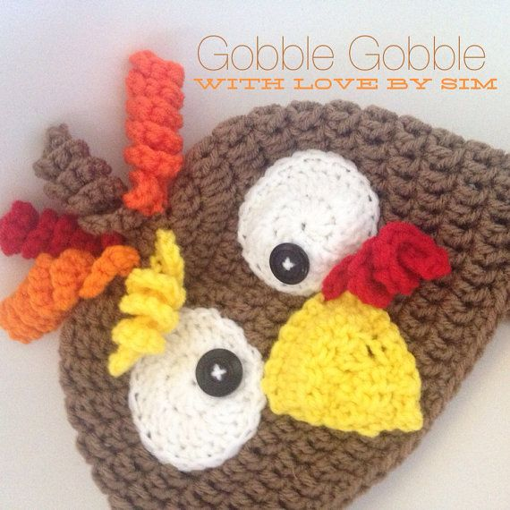 dbc2675f7 Thanksgiving Turkey Crochet Beanie Hat on Etsy, $25.00 | Random junk ...