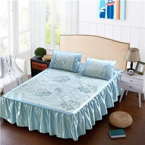 Cool bed sheets for summer Soft Home Textile Summer Cool Bed Skirt Set Golden Flower Bed Sheet Twin Full Queen Blue Bed Rediffmail Home Textile Summer Cool Bed Skirt Set Golden Flower Bed Sheet Twin