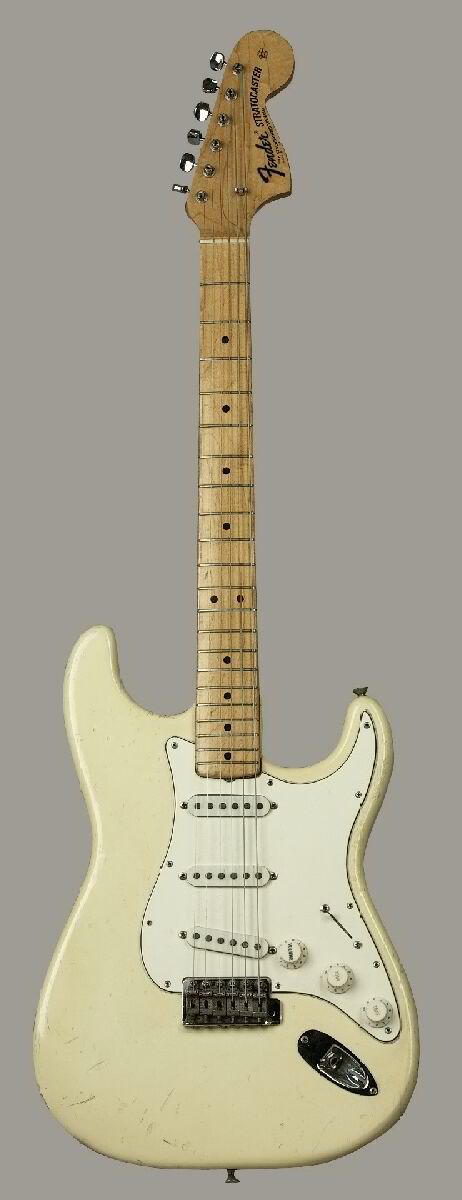 Jimi Hendrix' Woodstock ('68 Fender Stratocaster). Paul Allen bought this at auction for 1.3 million. #fenderstratocaster