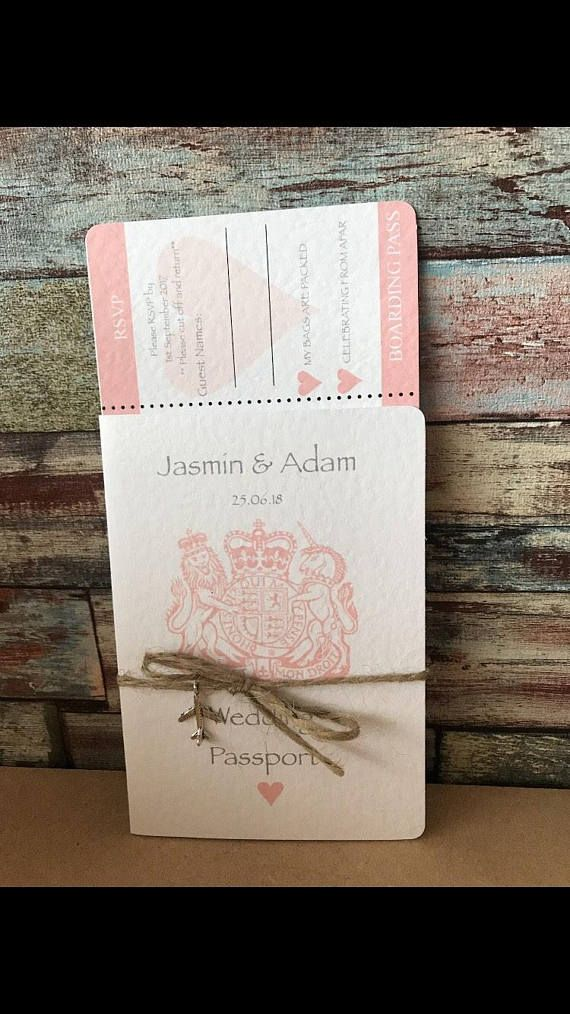 Passport Boarding Pass Wedding Invitations In Hammered Card