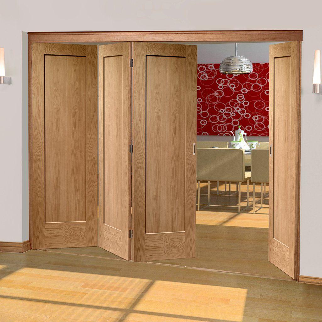 Freefold Oak Pattern 10 Style Folding 4 Door Set, Height 2090mm ...