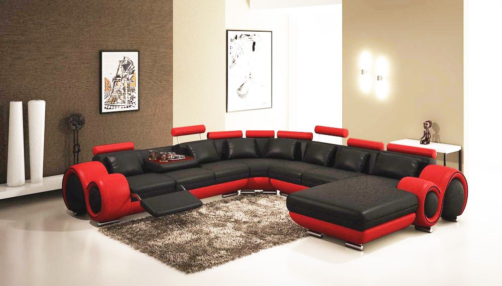 Fine Gemma Modern Black And Red Sectional Sofa Leather Caraccident5 Cool Chair Designs And Ideas Caraccident5Info