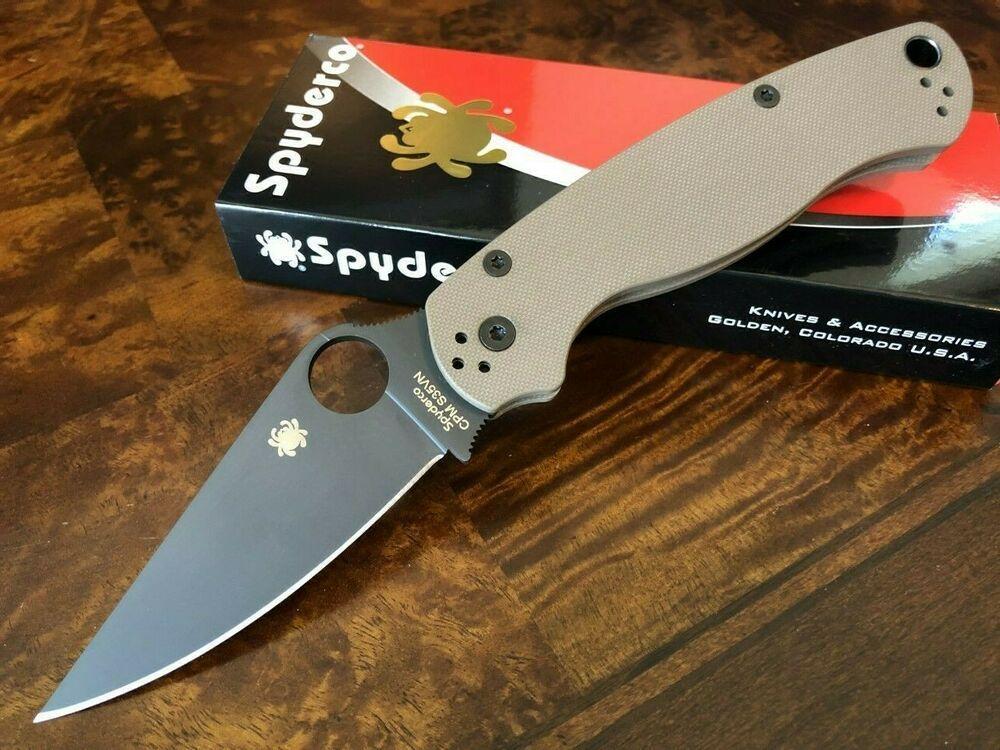 eBay #Sponsored Spyderco Knife Paramilitary 2 PM2 Earth Brown S35VN