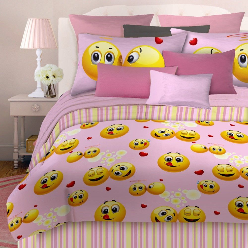 Superbe Veratex Emoji Girls Pink Happy Face Bed In Bag Bedding Comforter Set ALL  SIZES